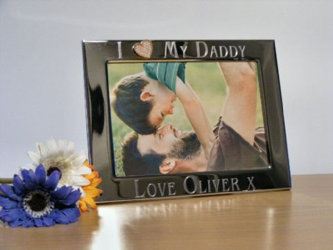 Personalised Gold Heart Photo Frame I Love My Daddy Fathers Day Gift